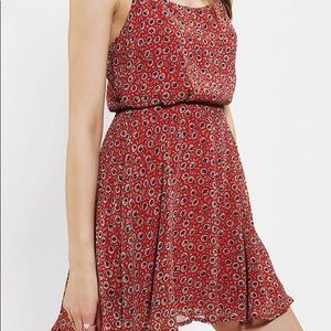 Urban Outfitters Red Chiffon Floral Mini Dress